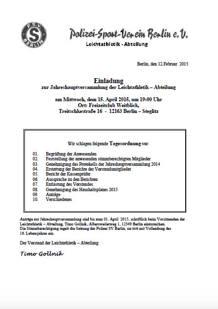 Einladung- Jahreshauptvers. 2015